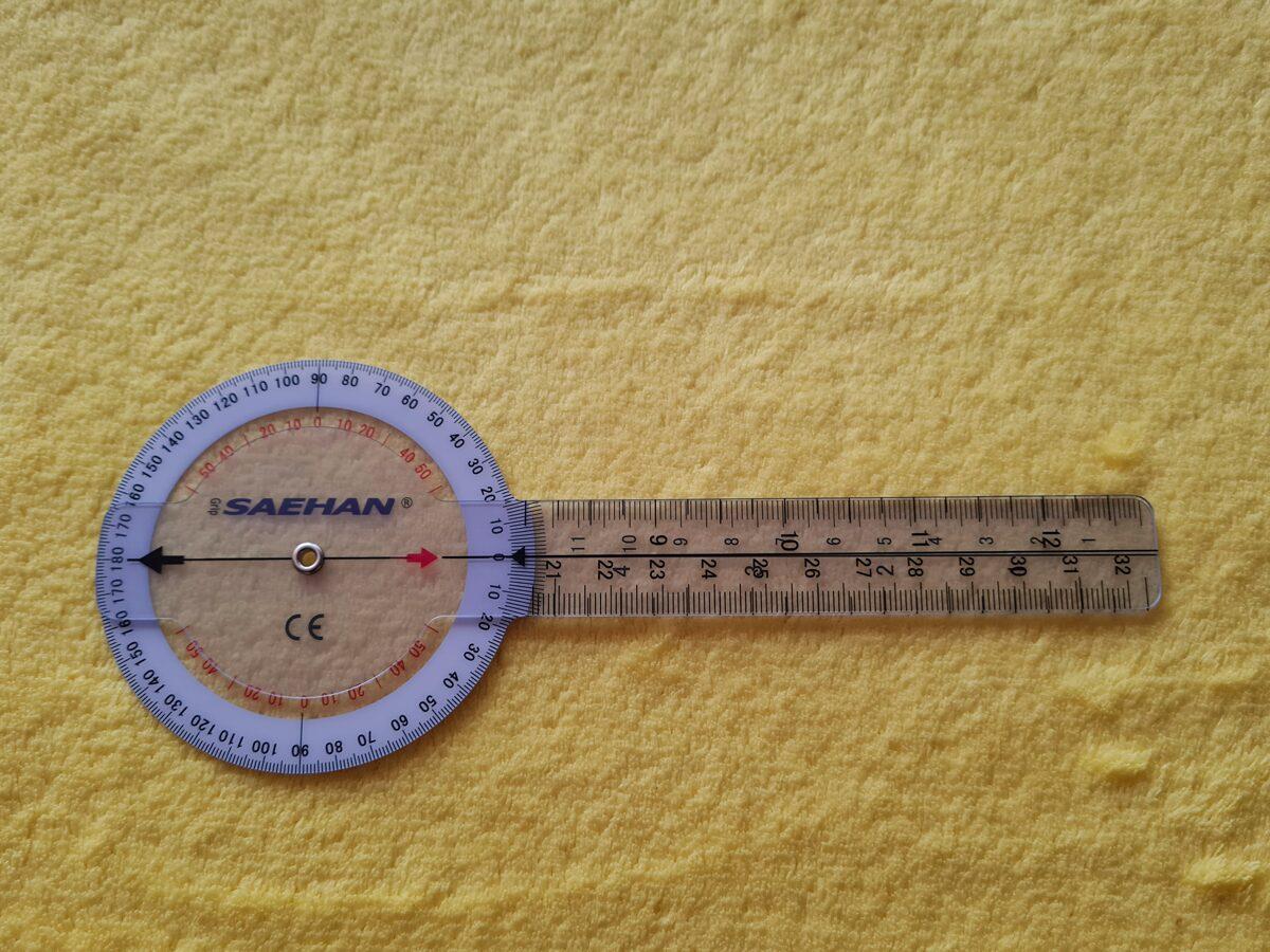Goniometrs leņķa mērītājs lineāls fizioterapeitiem 20 cm