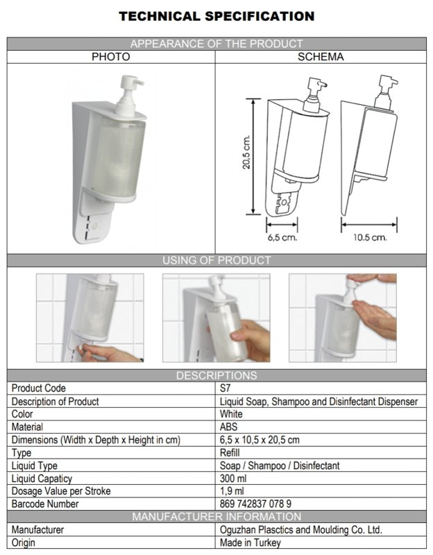 Soap, Shampoo and Disinfectant Dispenser 300ml mounted wall white laboratory WC